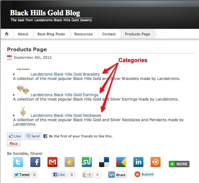 Black Hills Gold Blog Product Categories
