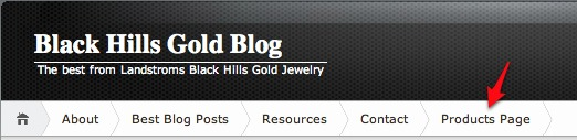 Black Hills Gold Blog Products Page tab