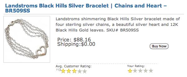Landstroms BR509SS Black Hills Silver Bracelet